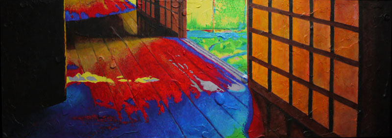 Memory (Koto-in), 2014. Acrylic on wood panel, 35 x 100 x 2 cm. Private collection, Japan.