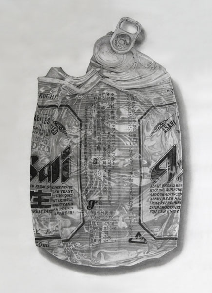 Smashed, 2014. Charcoal and graphite on Japanese paper (Torinoko), 109 x 79cm.